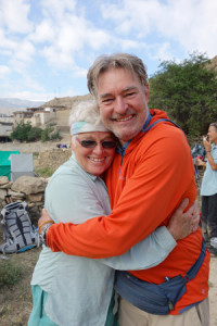 Admirable Friendship: Dharma Zephyr lay leader christy Tews and teacher John Travis in the Mustang region of Nepal, June, 2014. Photo by Liam Keating