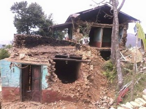 destroyed home in Godvari village photo: Ama Ghar